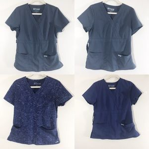 4 Grey's Anatomy scrub tops blue and gray medium